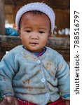 Small photo of 01 JAN. 2018 at countryside a Lahu Baby he is hill tribe Lahu people Northern in Doi Ang Khang Chiang Mai, Thailand.