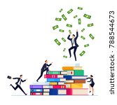 businessman on top of a pile of ... | Shutterstock .eps vector #788544673