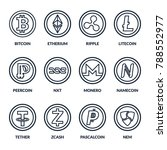 set of coins with symbols and... | Shutterstock .eps vector #788552977