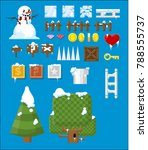 collection of various winter... | Shutterstock .eps vector #788555737