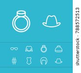 accessories icons set with hat  ...