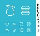 meal icons set with apple  milk ...