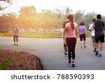 group of people exercise... | Shutterstock . vector #788590393