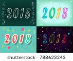 year specific 2018. four retro... | Shutterstock . vector #788623243