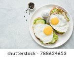healthy breakfast toasts with... | Shutterstock . vector #788624653