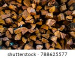 pile of stacked firewood ...   Shutterstock . vector #788625577