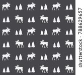 moose and firs seamless pattern ... | Shutterstock .eps vector #788629657