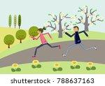 marathon.cherry blossom. image ...   Shutterstock .eps vector #788637163