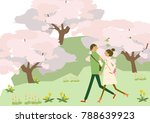 scenery of cherry blossoms. a... | Shutterstock .eps vector #788639923