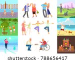 banner of retired elderly... | Shutterstock .eps vector #788656417