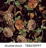 embroidery bull skull and roses ... | Shutterstock .eps vector #788658997