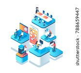 People work in a team and achieve the goal. Startup concept. Launch a new product on a market. Isometric illustration. | Shutterstock vector #788659447