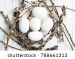 white painted wooden eggs and... | Shutterstock . vector #788661313