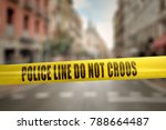 yellow police line tape with... | Shutterstock . vector #788664487