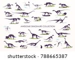 set of silhouettes  dino...   Shutterstock .eps vector #788665387