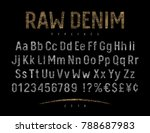 grunge font with raw denim... | Shutterstock .eps vector #788687983