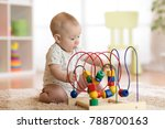 baby boy playing with... | Shutterstock . vector #788700163