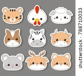 set of cartoon cute animal... | Shutterstock .eps vector #788710033