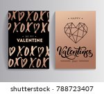 happy valentine's day rose gold ... | Shutterstock .eps vector #788723407