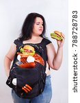 obese fat young woman with a...