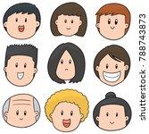 vector set of cartoon face | Shutterstock .eps vector #788743873