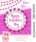 happy valentine's day cute... | Shutterstock .eps vector #788744503