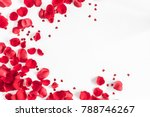 Stock photo valentine s day flowers composition round frame made of rose flowers confetti on white 788746267