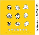 character expression set   hand ... | Shutterstock .eps vector #788746573