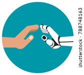 touch hands of robot and human. ... | Shutterstock .eps vector #788748163