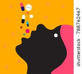 woman takes many pills.... | Shutterstock .eps vector #788762467
