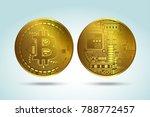 bitcoin flat vector icon.... | Shutterstock .eps vector #788772457