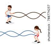battle rope exercises flat...   Shutterstock .eps vector #788774257