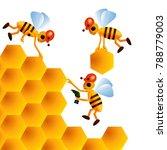three cartoon bees build...