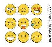 set of smile icons. emoji.... | Shutterstock .eps vector #788779327