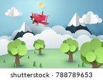 paper art of pink plane flying... | Shutterstock .eps vector #788789653