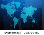 abstract digital world map on... | Shutterstock . vector #788799457