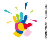full color hi five claps logo | Shutterstock .eps vector #788801683