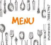 menu design consept. spoons and ... | Shutterstock .eps vector #788817967