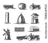 farm collection. black and... | Shutterstock .eps vector #788818903