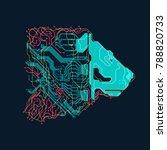 futuristic colorful lion head ... | Shutterstock .eps vector #788820733