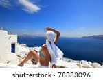 young woman enjoying the view... | Shutterstock . vector #78883096