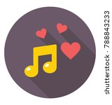 romantic music flat colored... | Shutterstock .eps vector #788843233