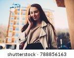 charming female traveler... | Shutterstock . vector #788856163