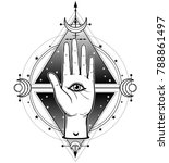 mystical symbol  the human hand ... | Shutterstock .eps vector #788861497