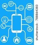blue smart phone network... | Shutterstock .eps vector #788864383