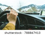 driver's hands on a steering... | Shutterstock . vector #788867413