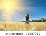 young girl joys on the wheat...   Shutterstock . vector #78887782
