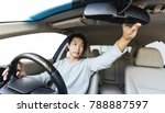 young asian guy driving luxury... | Shutterstock . vector #788887597