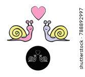 Loving Snail Vector. Snails...