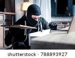 crime. dark eyed skilful masked ... | Shutterstock . vector #788893927
